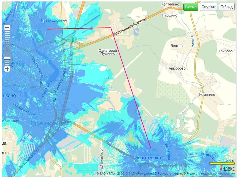 Карта покрытия сети Yota (надо